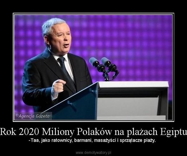 Rok 2020 Miliony Polaków na plażach Egiptu – -Taa, jako ratownicy, barmani, masażyści i sprzątacze plaży.