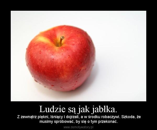 Ludzie są jak jabłka. – Z zewnątrz piękni, lśniący i dojrzali, a w środku robaczywi. Szkoda, żemusimy spróbować, by się o tym przekonać.