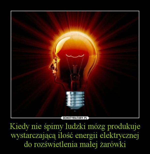 Kiedy nie śpimy ludzki mózg produkuje wystarczającą ilość energii elektrycznej do rozświetlenia małej żarówki –