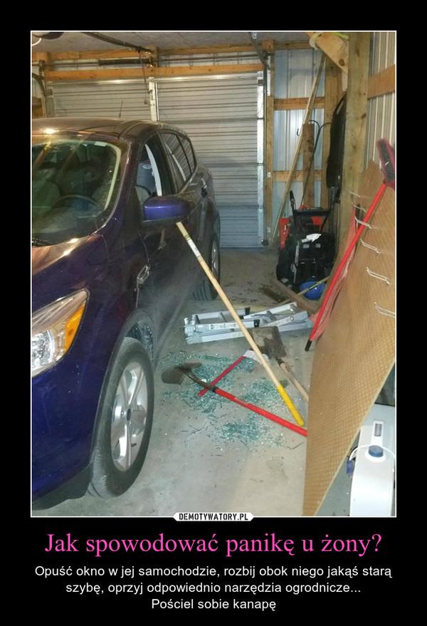 Jak spowodować panikę u żony? – Opuść okno w jej samochodzie, rozbij obok niego jakąś starą szybę, oprzyj odpowiednio narzędzia ogrodnicze...Pościel sobie kanapę