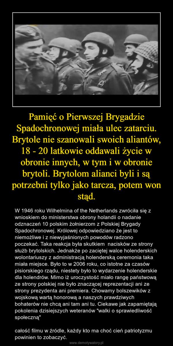 """Pamięć o Pierwszej Brygadzie Spadochronowej miała ulec zatarciu. Brytole nie szanowali swoich aliantów, 18 - 20 latkowie oddawali życie w obronie innych, w tym i w obronie brytoli. Brytolom alianci byli i są potrzebni tylko jako tarcza, potem won stąd. – W 1946 roku Wilhelmina of the Netherlands zwróciła się z wnioskiem do ministerstwa obrony holandii o nadanie odznaczeń 10 polskim żołnierzom z Polskiej Brygady Spadochronowej. Królowej odpowiedziano że jest to niemożliwe i z niewyjaśnionych powodów radzono poczekać. Taka reakcja była skutkiem  nacisków ze strony służb brytolskich. Jednakże po zaciętej walce holenderskich wolontariuszy z administracją holenderską ceremonia taka miała miejsce. Było to w 2006 roku, co istotne za czasów pisiorskiego rządu, niestety było to wydarzenie holenderskie dla holendrów. Mimo iż uroczystość miało rangę państwową ze strony polskiej nie było znaczącej reprezentacji ani ze strony prezydenta ani premiera. Chowamy bolszewików z wojskową wartą honorową a naszych prawdziwych bohaterów nie chcą ani tam ani tu. Ciekawe jak zapamiętają pokolenia dzisiejszych weteranów """"walki o sprawiedliwość społeczną""""całość filmu w źródle, każdy kto ma choć cień patriotyzmu powinien to zobaczyć."""
