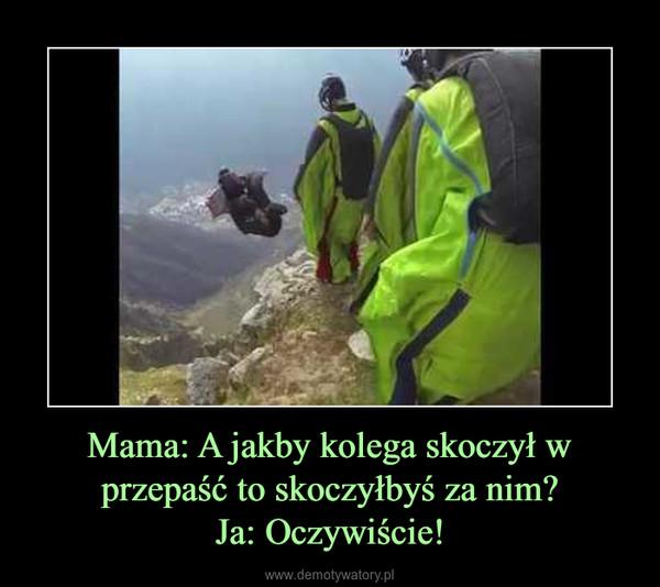 Mama: A jakby kolega skoczył w przepaść to skoczyłbyś za nim?Ja: Oczywiście! –