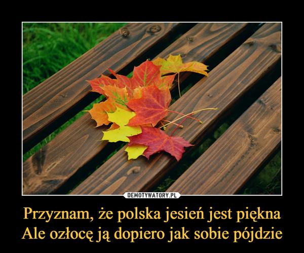 Przyznam, że polska jesień jest pięknaAle ozłocę ją dopiero jak sobie pójdzie –