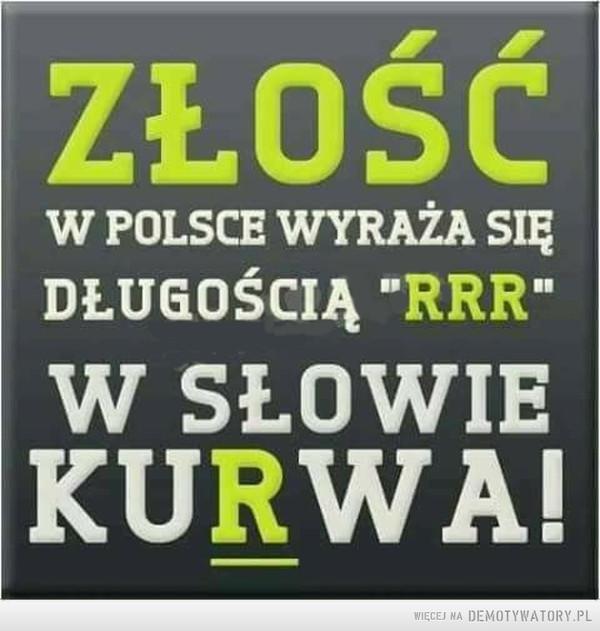 """Złość –  W POLSCE WYRAŻA SIĘDŁUGOŚCIĄ """"RRR""""W SŁOWIEKURWA!"""