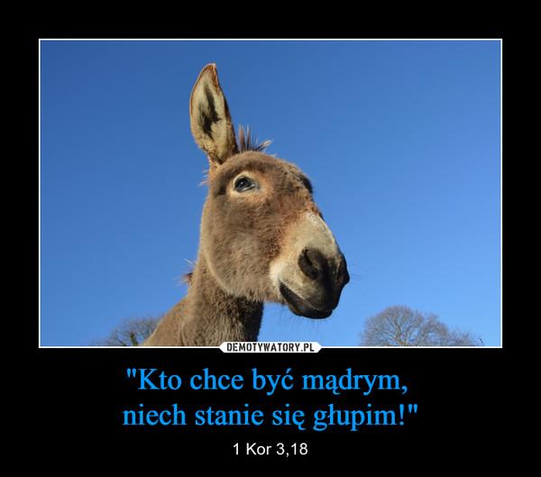 """""""Kto chce być mądrym, niech stanie się głupim!"""" – 1 Kor 3,18"""