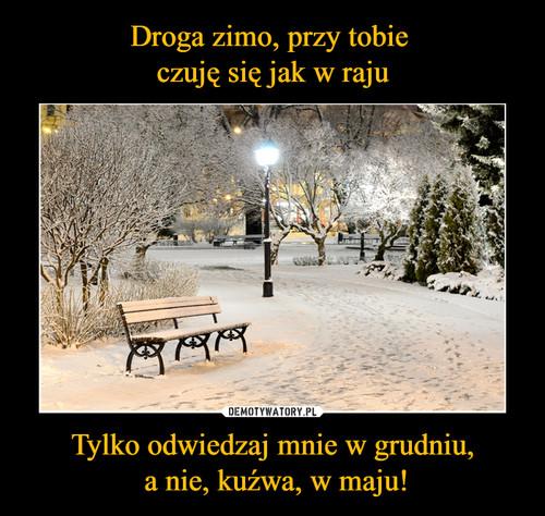 Droga zimo, przy tobie  czuję się jak w raju Tylko odwiedzaj mnie w grudniu,  a nie, kuźwa, w maju!