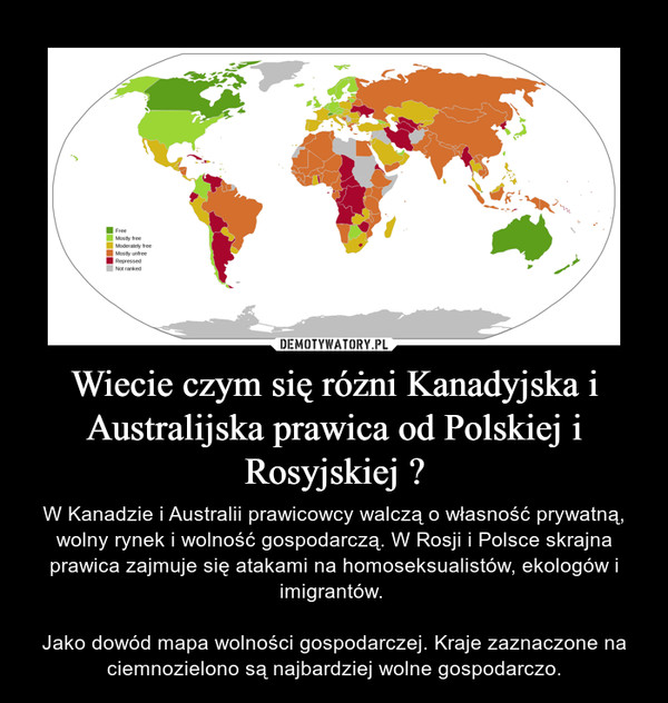 Wiecie czym się różni Kanadyjska i Australijska prawica od Polskiej i Rosyjskiej ? – W Kanadzie i Australii prawicowcy walczą o własność prywatną, wolny rynek i wolność gospodarczą. W Rosji i Polsce skrajna prawica zajmuje się atakami na homoseksualistów, ekologów i imigrantów. Jako dowód mapa wolności gospodarczej. Kraje zaznaczone na ciemnozielono są najbardziej wolne gospodarczo.