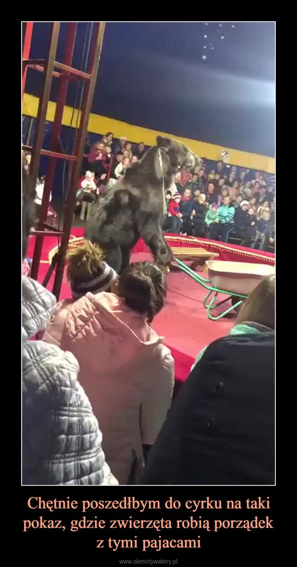 Chętnie poszedłbym do cyrku na taki pokaz, gdzie zwierzęta robią porządekz tymi pajacami –