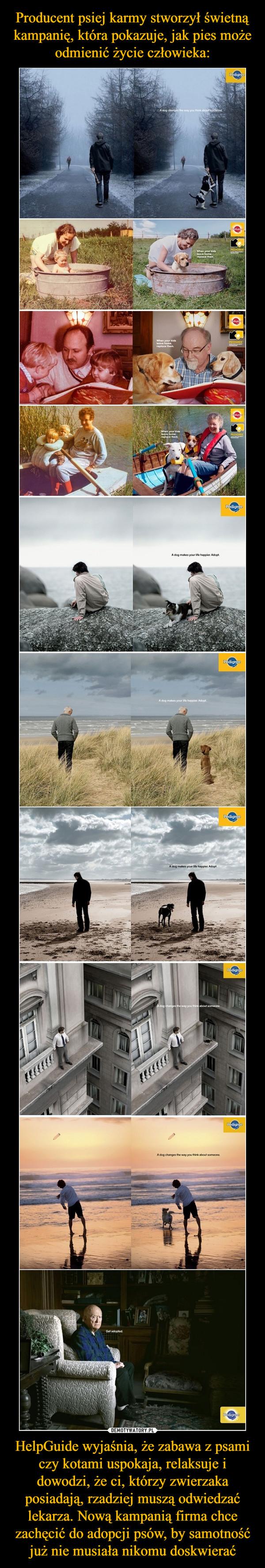 HelpGuide wyjaśnia, że zabawa z psami czy kotami uspokaja, relaksuje i dowodzi, że ci, którzy zwierzaka posiadają, rzadziej muszą odwiedzać lekarza. Nową kampanią firma chce zachęcić do adopcji psów, by samotność już nie musiała nikomu doskwierać –