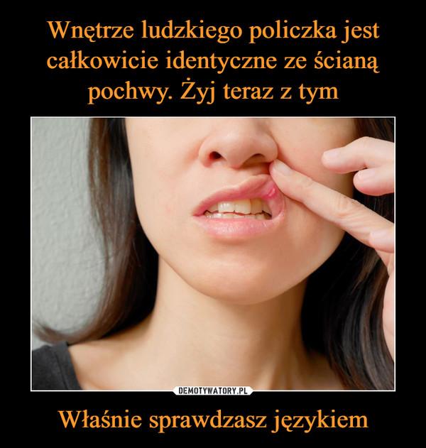 Właśnie sprawdzasz językiem –