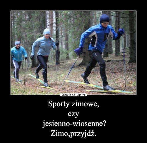 Sporty zimowe, czy  jesienno-wiosenne? Zimo,przyjdź.