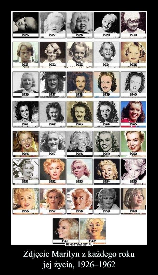 Zdjęcie Marilyn z każdego rokujej życia, 1926–1962 –