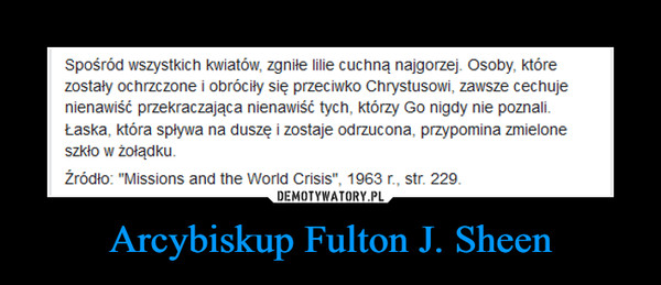 Arcybiskup Fulton J. Sheen –
