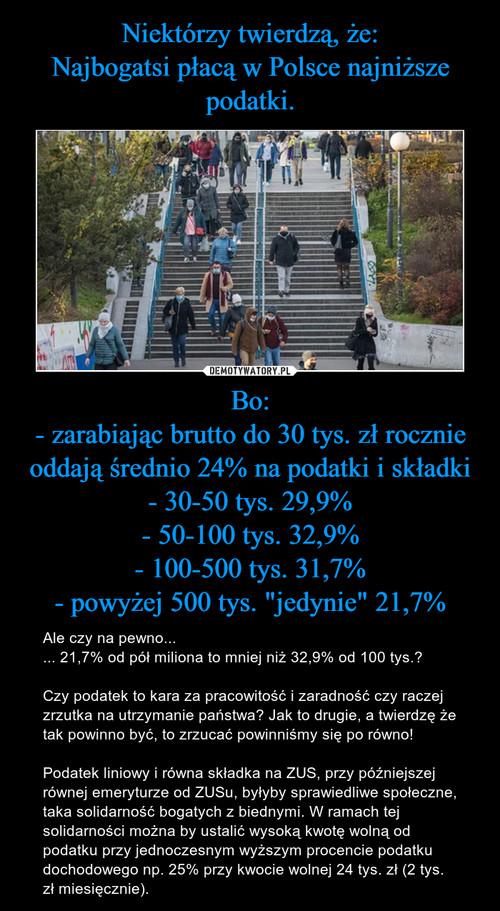"""Niektórzy twierdzą, że: Najbogatsi płacą w Polsce najniższe podatki. Bo: - zarabiając brutto do 30 tys. zł rocznie oddają średnio 24% na podatki i składki - 30-50 tys. 29,9% - 50-100 tys. 32,9% - 100-500 tys. 31,7% - powyżej 500 tys. """"jedynie"""" 21,7%"""