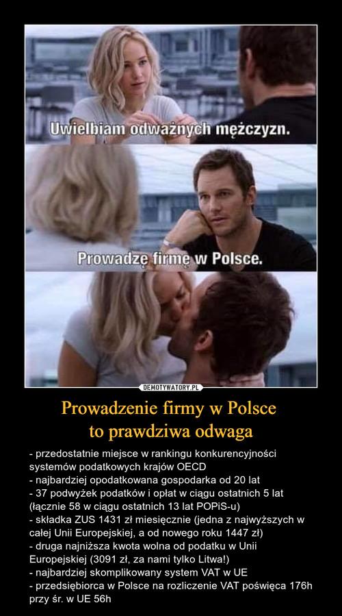 Prowadzenie firmy w Polsce  to prawdziwa odwaga