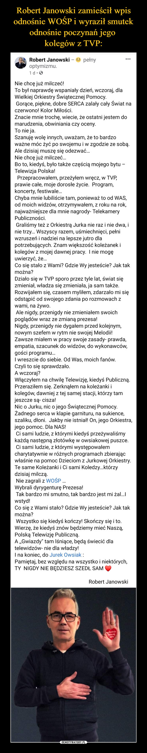 Robert Janowski zamieścił wpis odnośnie WOŚP i wyraził smutek odnośnie poczynań jego  kolegów z TVP: