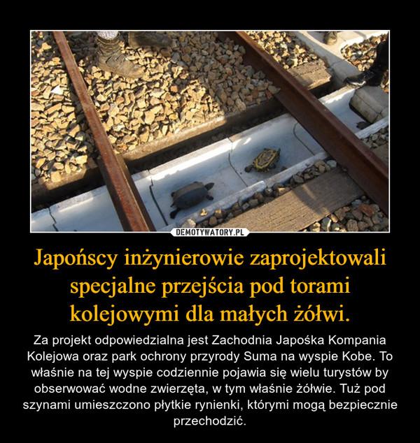 Japońscy inżynierowie zaprojektowali specjalne przejścia pod torami kolejowymi dla małych żółwi. – Za projekt odpowiedzialna jest Zachodnia Japośka Kompania Kolejowa oraz park ochrony przyrody Suma na wyspie Kobe. To właśnie na tej wyspie codziennie pojawia się wielu turystów by obserwować wodne zwierzęta, w tym właśnie żółwie. Tuż pod szynami umieszczono płytkie rynienki, którymi mogą bezpiecznie przechodzić.