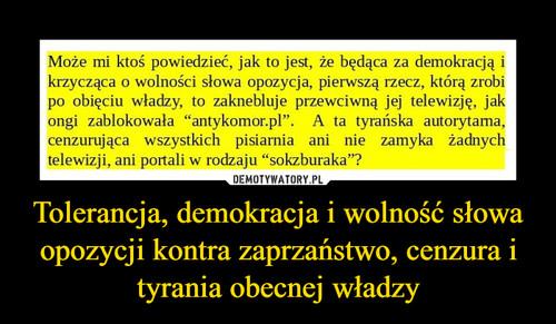 Tolerancja, demokracja i wolność słowa opozycji kontra zaprzaństwo, cenzura i tyrania obecnej władzy