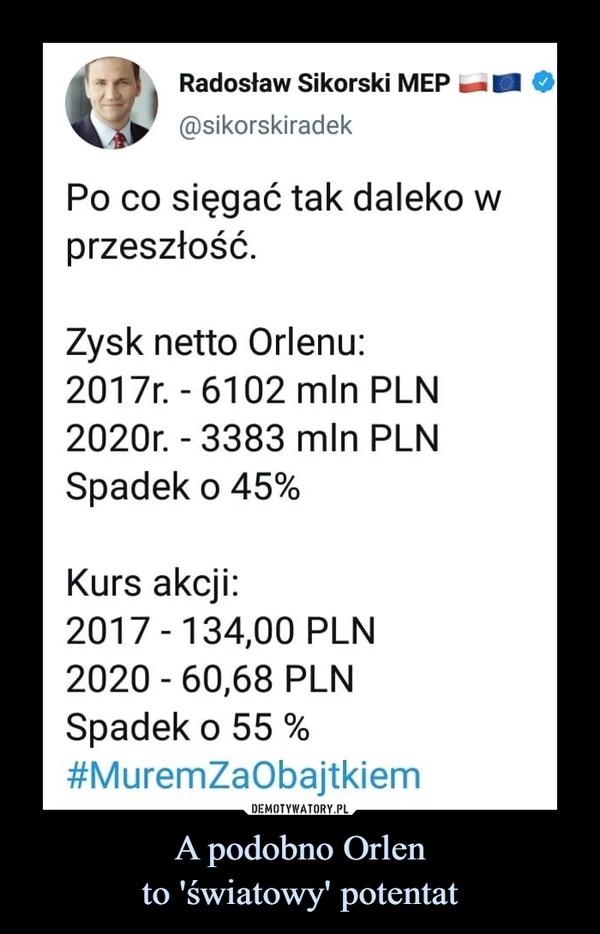 A podobno Orlento 'światowy' potentat –  Radosław Sikorski MEP@sikorskiradekPo co sięgać tak daleko wprzeszłość.Żysk netto Orlenu:2017r. - 6102 mln PLN2020r. - 3383 mln PLNSpadek o 45%Kurs akcji:2017 - 134,00 PLN2020 - 60,68 PLNSpadek o 55 %#MuremZaObajtkiem