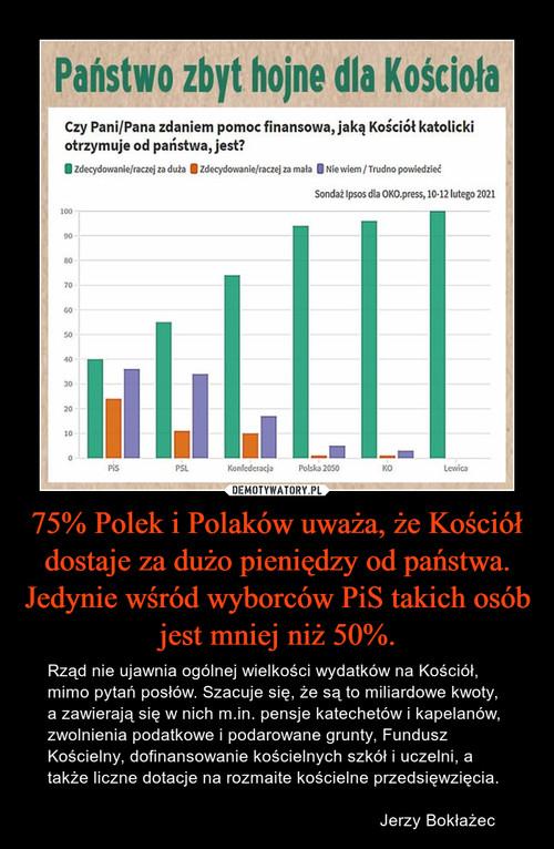 75% Polek i Polaków uważa, że Kościół dostaje za dużo pieniędzy od państwa. Jedynie wśród wyborców PiS takich osób jest mniej niż 50%.