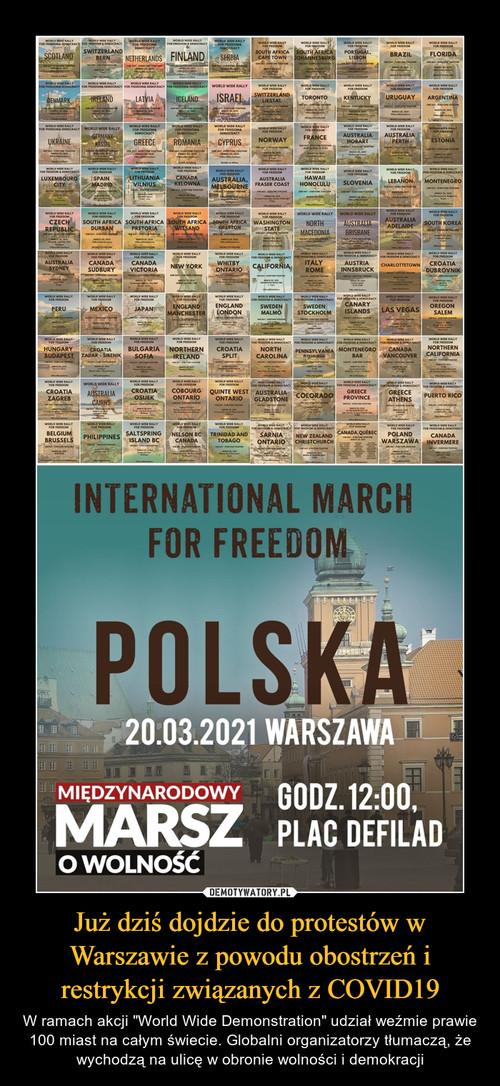 Już dziś dojdzie do protestów w Warszawie z powodu obostrzeń i restrykcji związanych z COVID19