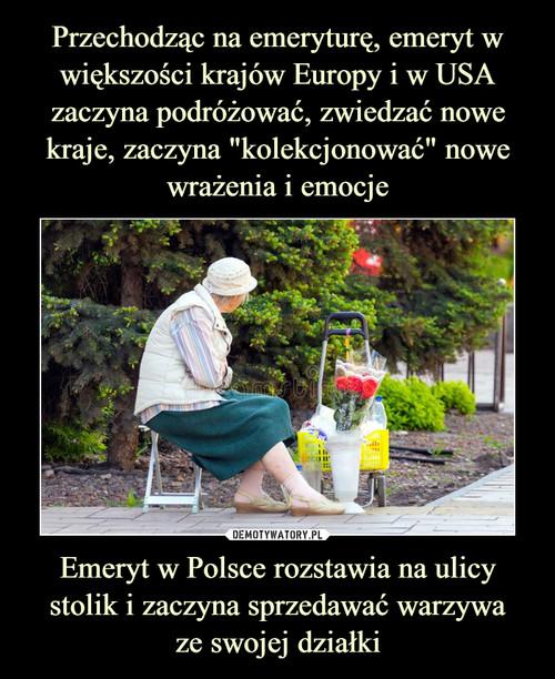 """Przechodząc na emeryturę, emeryt w większości krajów Europy i w USA zaczyna podróżować, zwiedzać nowe kraje, zaczyna """"kolekcjonować"""" nowe wrażenia i emocje Emeryt w Polsce rozstawia na ulicy stolik i zaczyna sprzedawać warzywa ze swojej działki"""