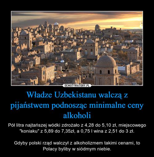 Władze Uzbekistanu walczą z pijaństwem podnosząc minimalne ceny alkoholi