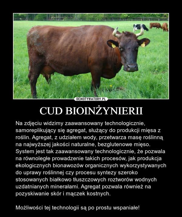 CUD BIOINŻYNIERII – Na zdjęciu widzimy zaawansowany technologicznie, samoreplikujący się agregat, służący do produkcji mięsa z roślin. Agregat, z udziałem wody, przetwarza masę roślinną na najwyższej jakości naturalne, bezglutenowe mięso. System jest tak zaawansowany technologicznie, że pozwala na równoległe prowadzenie takich procesów, jak produkcja ekologicznych bionawozów organicznych wykorzystywanych do uprawy roślinnej czy procesu syntezy szeroko stosowanych białkowo tłuszczowych roztworów wodnych uzdatnianych minerałami. Agregat pozwala również na pozyskiwanie skór i mączek kostnych.Możliwości tej technologii są po prostu wspaniałe!