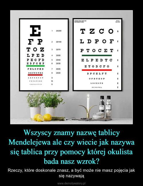 Wszyscy znamy nazwę tablicy Mendelejewa ale czy wiecie jak nazywa się tablica przy pomocy której okulista bada nasz wzrok?