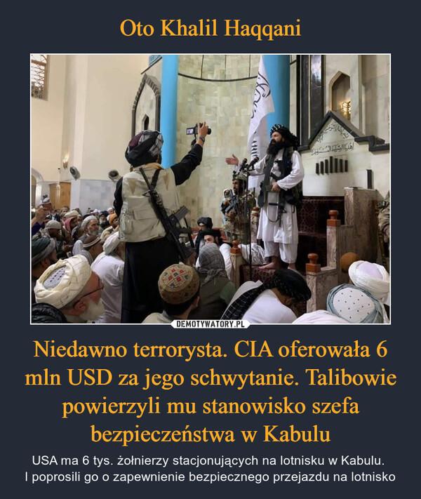 Niedawno terrorysta. CIA oferowała 6 mln USD za jego schwytanie. Talibowie powierzyli mu stanowisko szefa bezpieczeństwa w Kabulu – USA ma 6 tys. żołnierzy stacjonujących na lotnisku w Kabulu. I poprosili go o zapewnienie bezpiecznego przejazdu na lotnisko