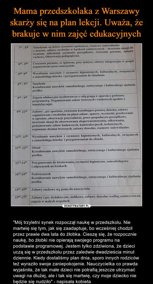 Mama przedszkolaka z Warszawy skarży się na plan lekcji. Uważa, że brakuje w nim zajęć edukacyjnych
