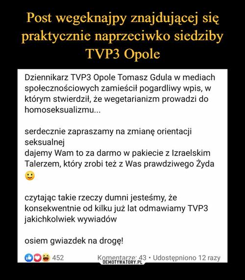 Post wegeknajpy znajdującej się praktycznie naprzeciwko siedziby TVP3 Opole