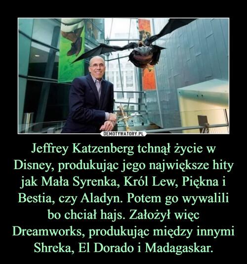 Jeffrey Katzenberg tchnął życie w Disney, produkując jego największe hity jak Mała Syrenka, Król Lew, Piękna i Bestia, czy Aladyn. Potem go wywalili bo chciał hajs. Założył więc Dreamworks, produkując między innymi Shreka, El Dorado i Madagaskar.